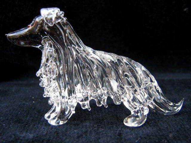 SHETLAND SHEEPDOG (SHELTIE) DOG CRYSTAL GLASS MINIATURE