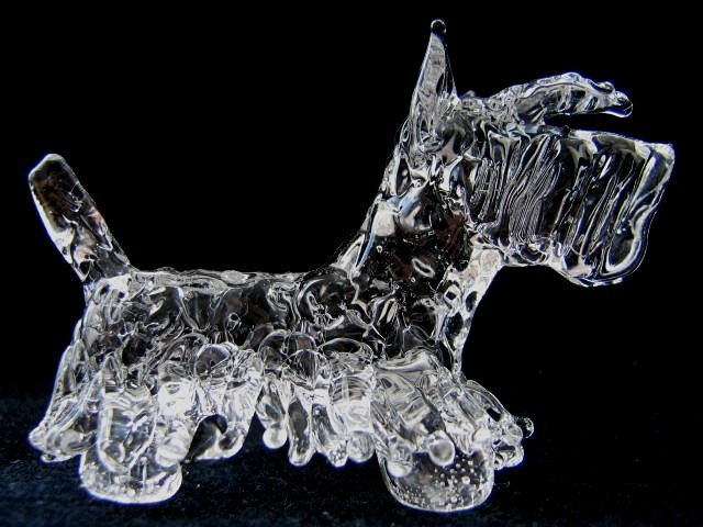 SCOTTISH TERRIER (SCOTTIE) DOG CRYSTAL GLASS MINIATURE