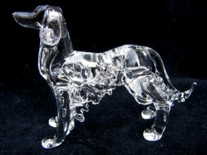 ENGLISH SETTER DOG CRYSTAL GLASS COLLECTIBLE MINIATURE