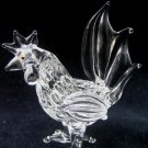ROOSTER CRYSTAL GLASS COLLECTIBLE MINIATURE FIGURINE