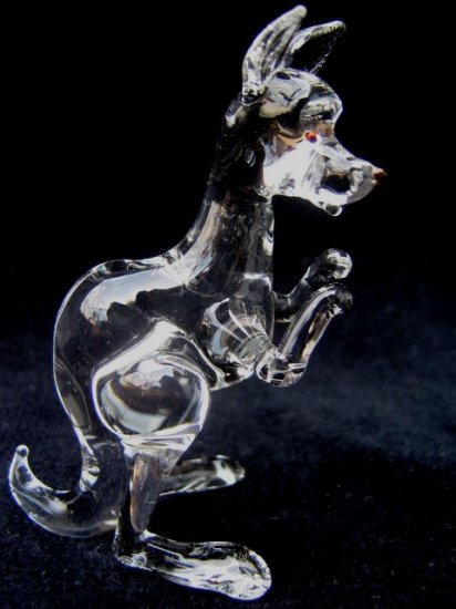 KANGAROO (WALLABY) CRYSTAL GLASS MINIATURE FIGURINE