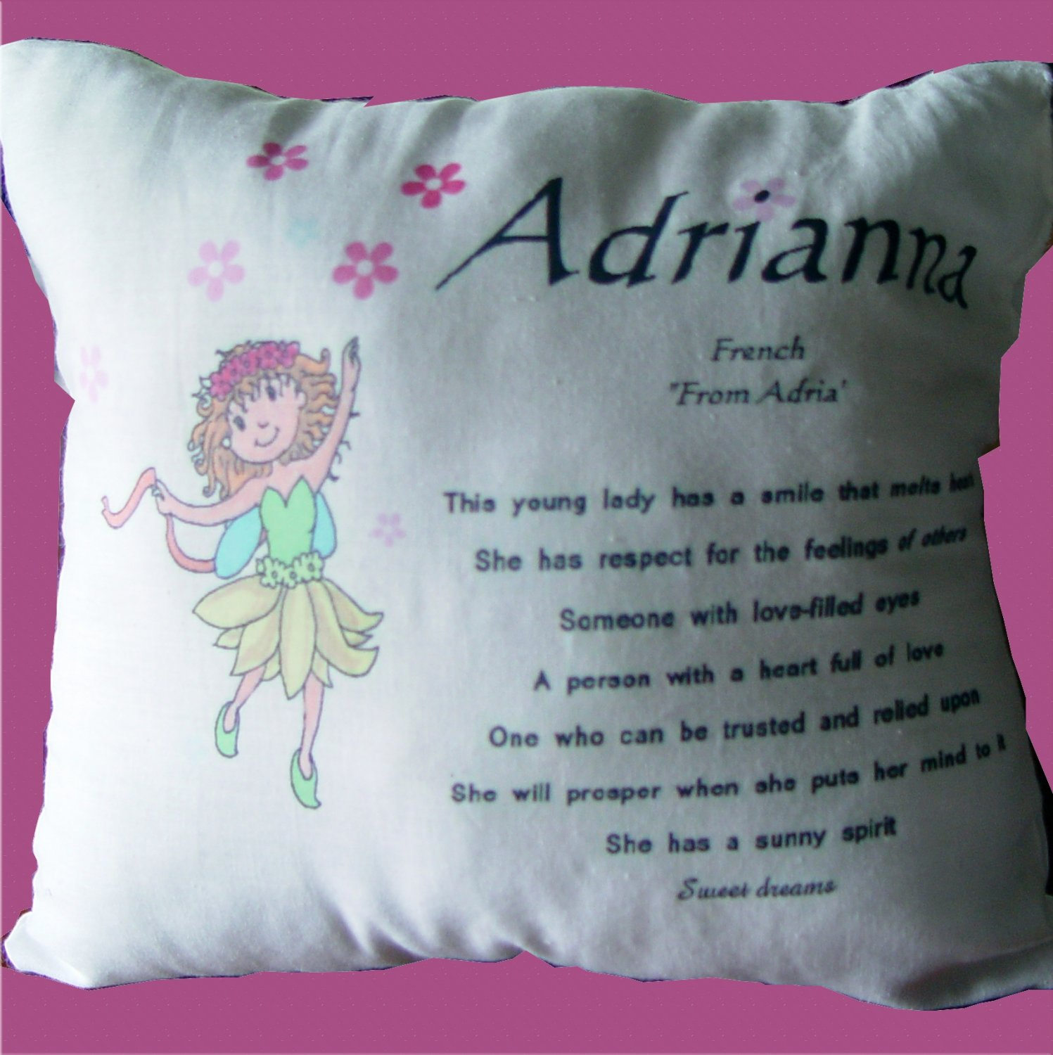 Personalized Little Girl Name Meaning Pillow USA Fairy