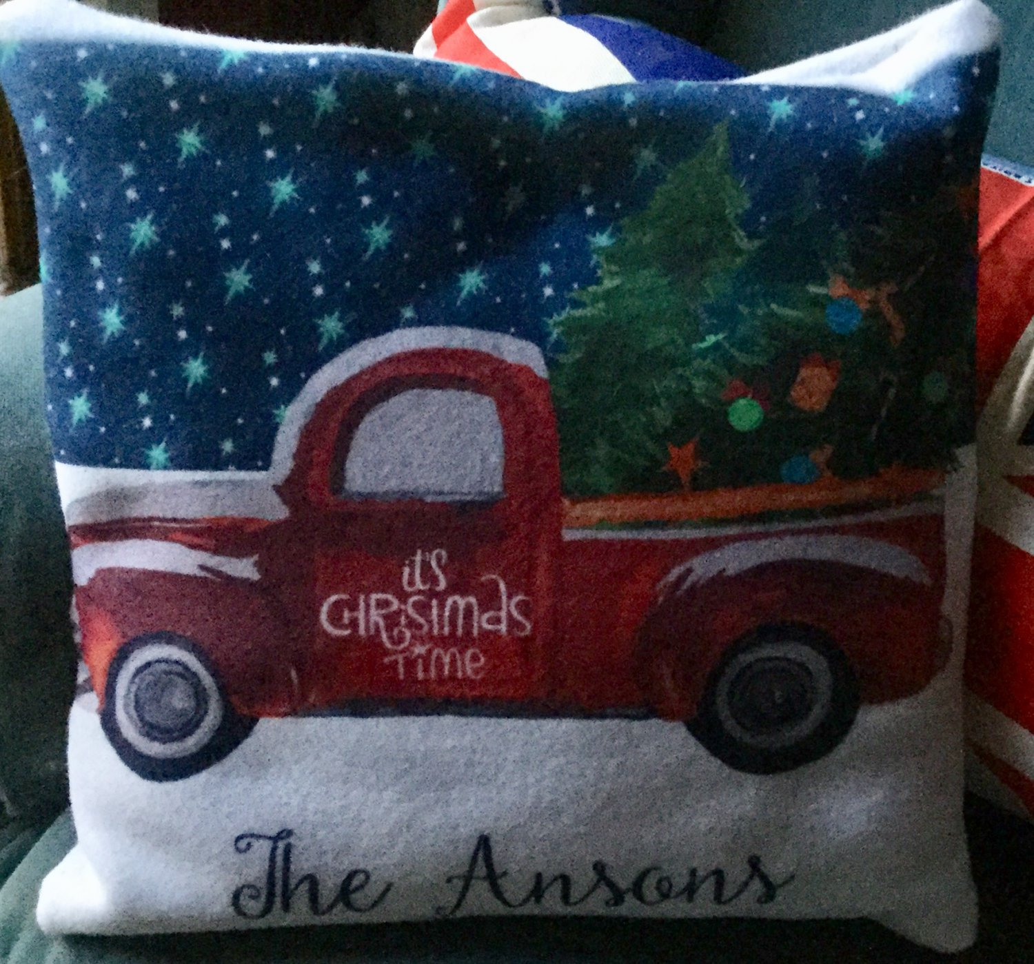 Vintage Red Truck  Christmas  Personalized pillow Custom