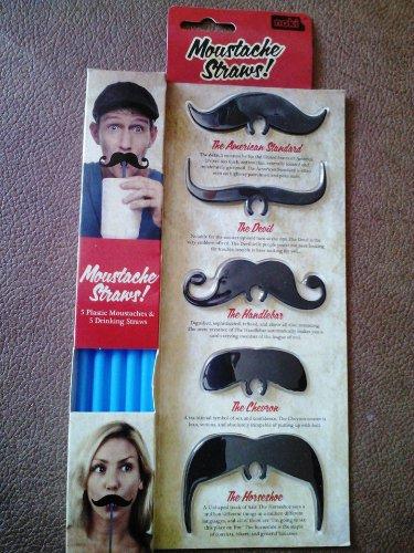 Noki Moustache Straw Clips - Set of 5 w/Straws