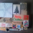 Lot of 21 Used Mounted Rubber Stamps Holiday Various Sizes Lot #2