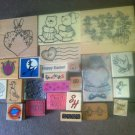 Lot of 24 Used Mounted Rubber Stamps Hearts Various Sizes & Designs Lot #6