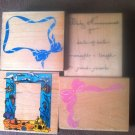 Lot of 4 Used Mounted Rubber Stamps Large Stamps  Various Sizes & Designs Lot #8