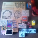Lot of 35 Used Mounted Rubber Stamps Sayings Various Sizes & Designs Lot #11
