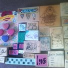 Lot of 30 Used Mounted Rubber Stamps Bears Various Sizes & Designs Lot #5