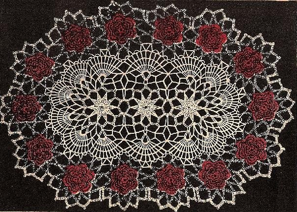 Vintage Pattern Rose Crochet Oval Doily Flower Doily Rose