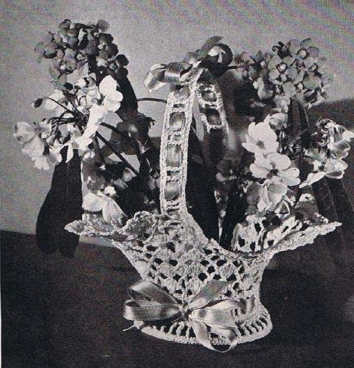 Vintage Flower Basket Pattern Thread Crochet Vase