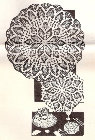 Vintage Crochet Table Patterns, Thread Doily Instructions, Crochet Set Vintage Mailorder