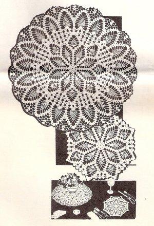 Vintage Crochet Table Patterns, Thread Doily Instructions, Crochet Set Vintage Mailorder