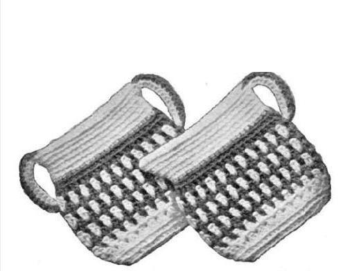 Sugar Creamer Bowls, Pan-holders, Lily Cotton Potholders Crochet
