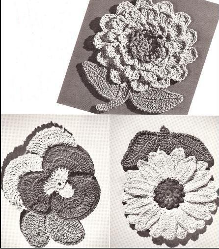 Vintage Flower Patterns,  Potholders Flower Crochet