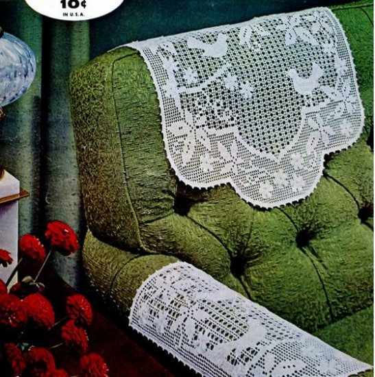Vintage Filet Crochet Pattern Birds Chair Set Patterns