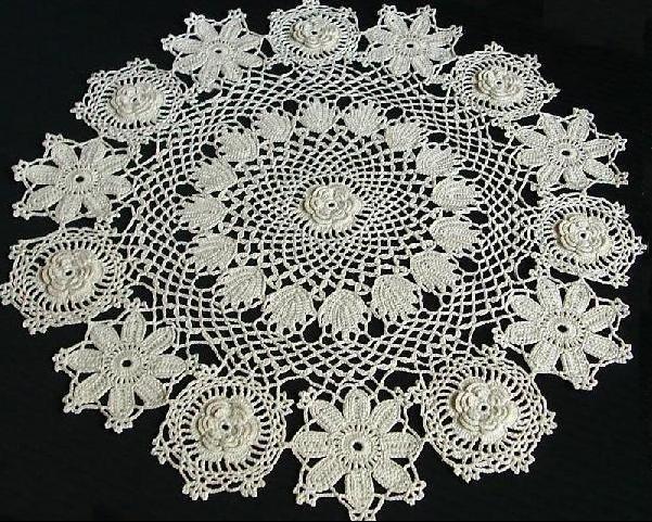Irish Flower Doily Rose of Sharon Pattern, Irish Pattern Doily