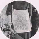 Pdf Crochet Pattern, Vintage Kitchen Apron Pattern