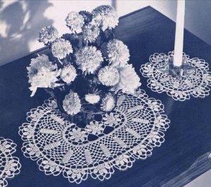 Blossoms Buffet  Doily Set  Pattern Dresser Doily