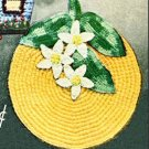 Orange Potholder Crochet Pattern with Leaves and Flower