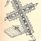 Tatting, Small Cross Pattern Bookmark, Vintage Tatted