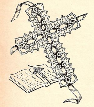 Tatting, Small Cross Pattern Bookmark, Vintage Tatted