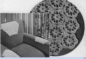 Crochet Motifs Chair Set  Floral Pattern