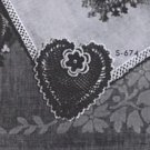 Handkerchief Heart  Corner Pattern and  Crochet Edging