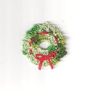 Crochet Wreath Pattern, Thread Ornament Christmas Wreath for Tree, Lapel