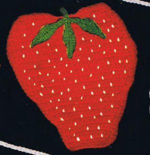 Kitchen Potholder Fruit Pattern, Crochet Strawberry