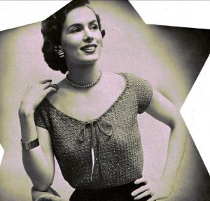 Vintage Womens Crochet Peasant Top Clothing Pattern