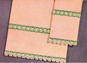 Insertions, Crochet Linen Edging, Flower Pattern