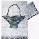 Towels Thread Applique Pattern Crochet  Basket and Washcloth Vintage Edging