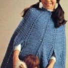 Crochet 2-12  Ponchos  Button Vintage Cape Child Size Pattern