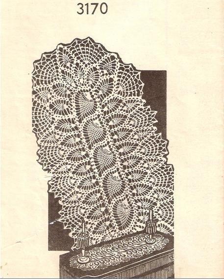 Crochet Pattern Lace Oval Runner No 3170 Pineapple Vintage