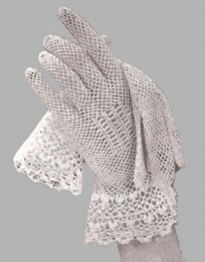 Irish Crochet Lace Bridal Gloves Vintage Pattern