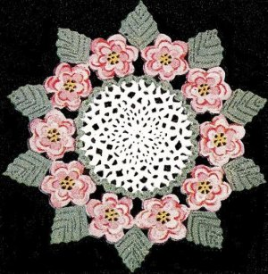 Crochet Rose Doily, Motif Flower, Irish Crochet Pdf Pattern
