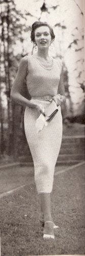 Vintage Womens Crochet Skirt Set Clothing Pattern