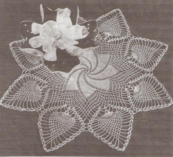 WhirlWind Pineapple Pinwheel Crochet  Doily Pattern