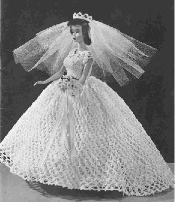 Crochet Bridal, Crochet Doll Bridal Barbie Gown  Formal Dress and Veil, Pattern Bridals