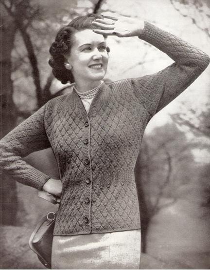 V-Neck Cardigan Knit 1940s Fashion Sweater