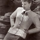 Vintage Sweaters, Women's Knit Cardigan Pattern, 1950s Needlework