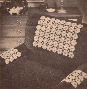 Daisy Crochet Chair Set, Motif Pattern Crochet Chairset