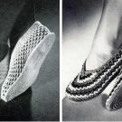 Crochet Pattern Slippers, Vintage  House Shoes Ballet Pattern