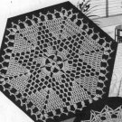 Vtg Crochet Pattern Tablecloth Motif Hexagon Star, Filet Table Covering