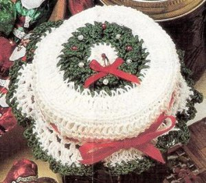 Crochet  Beaded Jar Topper Crochet Patterns Christmas  Wreath Jar Topper