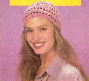 Crochet Womens Pattern  Beanie Cap  Hat -4Ply Cotton