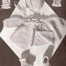 Crochet Vintage Baby Set Pattern Sweater Mitts Booties, Cap Layette