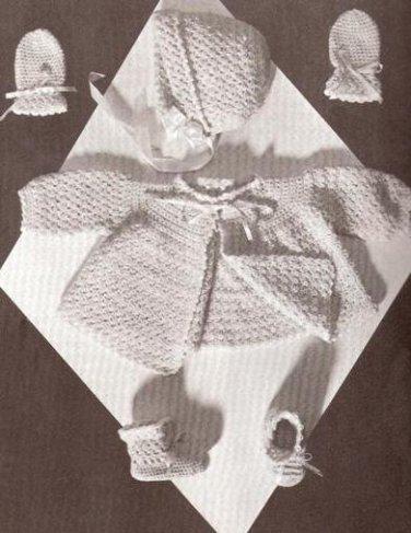 Crochet Vintage Baby Set Pattern Sweater Mitts Booties, Cap Layette