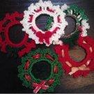 Crochet Wreath, Lapel Pin, Mini Package Trim, Ornament Wreath